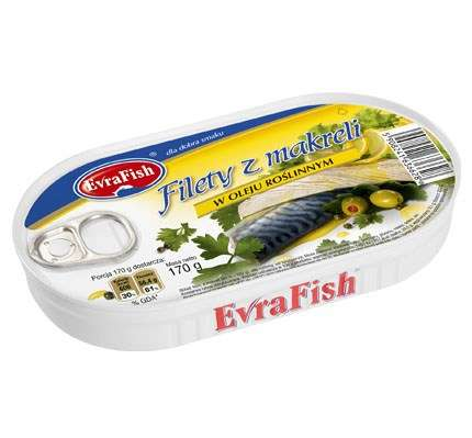 Evra Fish Filet z makreli w ol.170g/16