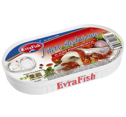 Evra Fish Filet śledź w pomid.170g/16